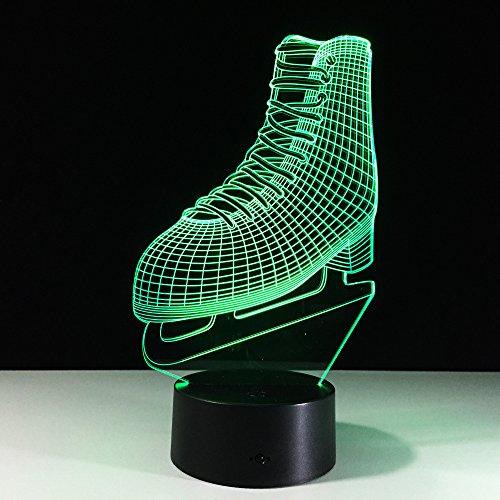 3D Illusion Lampe Led Nachtlicht,Schlittschuhe 3D Lampe Touch Bunte 3D Nachtlicht Usb Led Powerbank Tischlampen 7 Farbwechsel Schreibtischlampe