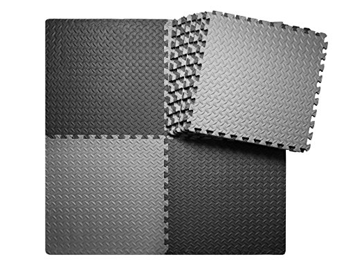 innhom 12 Tiles, 46 SQ. FT Gym Mat Exercise Mat Puzzle Foam Mats Gym Flooring Mat Interlocking Foam Mats with EVA Foam Floor Tiles for Gym Equipment Workout Mat, Black and Gray