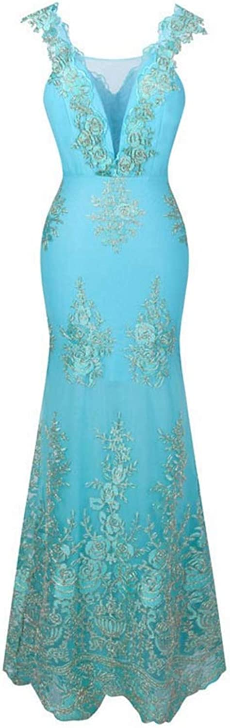 Women's V Neck Embroidery Lace Flower Mermaid Long Evening Dress Pink