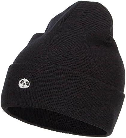 e4Hats com Mini Panda Embroidered Long Beanie Black OSFM product image