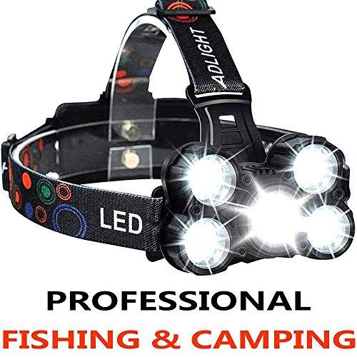 COOLEAD Torcia Frontale Zoomable 4 Modalità 5 LED,Lampada Frontale led Ricaricabile USB 2600mAh,Regolabile Impermeabile per Escursioni, Campeggio,Ciclismo,Corsa, Speleologia, Pesca.