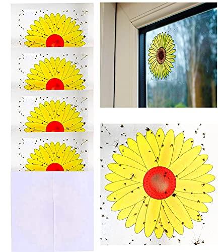 Plai 16 x Sonnenblume Fenster Fliegenfalle Fliegenstreifen, Fliegen-Fensterstreifen, gegen Fliegen 9.5 x 9.5 cm, 16 Stück