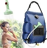 Hanper Ducha portátil para camping, ducha compacta con dos baterías USB extraíbles, ducha de mano para camping, senderismo, viajes, emergencias, camping (azul)