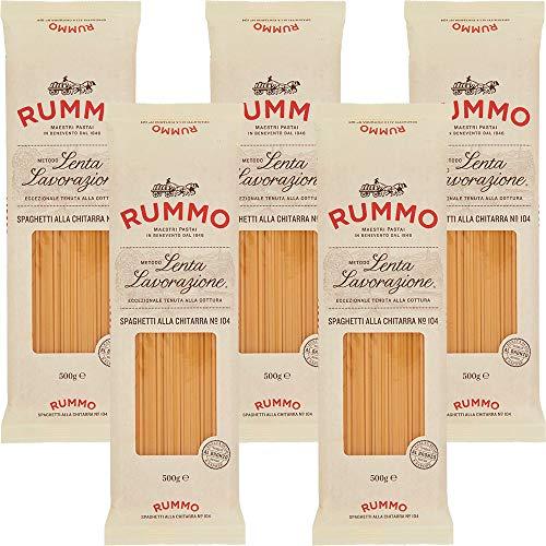 Spaghetti Quadrati alla Chitarra | Rummo | 5kg Maxi Formato | Pasta | Grano 100% Italiano | Confezione 10 Pacchi da 500gr | Eccezionale Tenuta alla Cottura | Idea Regalo