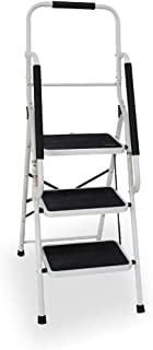 3 Step Ladder, Folding 3-Step Safety Step Ladder Padded Side Handrails Attachable Tool Pouch, 330lbs Capacity