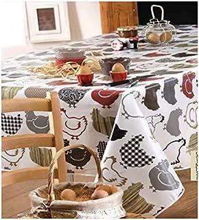 Toile Cirée Nappe Table au Mètre Carré Rond Oval Poules 06077-00