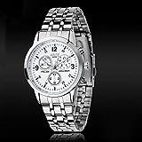 IEason,Luxury Waterproof Stainless Steel Quartz Women Wrist Watch Jewelry (White)