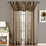 Abri Mocha Waterfall Grommet Crushed Sheer Valance , 24x24 inches, by Royal Hotel