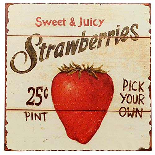 Barnyard Designs Strawberries Pick Your Own Retro Vintage Tin Bar Sign Country Home Decor 11 x 11