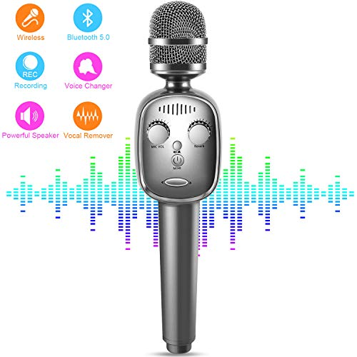 Wireless Karaoke Microphone, Bluetooth 5.0 Portable Handheld Karaoke player Mic Speaker Machine with Voice Changer, Vocal Remover, Voice Recording Home Party for Android & iOS All Smartphone(Gray)