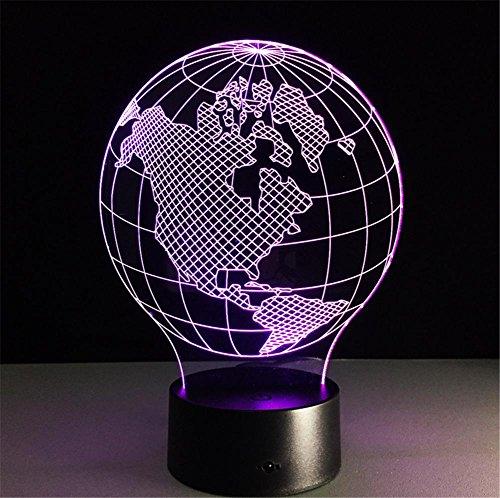 Veilleuses Illusions Optiques Amérique centrale carte Lampe de bureau 3d 7 couleurs Changement tactile interrupteur à distance Tableau de commande LED Night Light Lighting Décoration Accessoires pour la maison