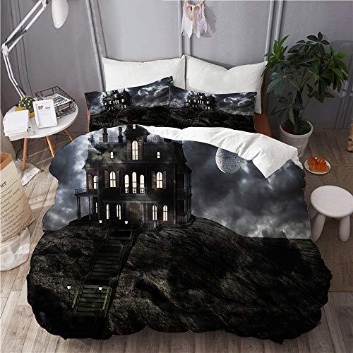 KIMDFACE Funda Edredón,Mansión fantasmal embrujada en la Cima de la Colina en una Noche de Luna Llena con Nubes Bajas,Ropa de Cama Funda Nórdica,1(140x200cm)+2(50x80cm)