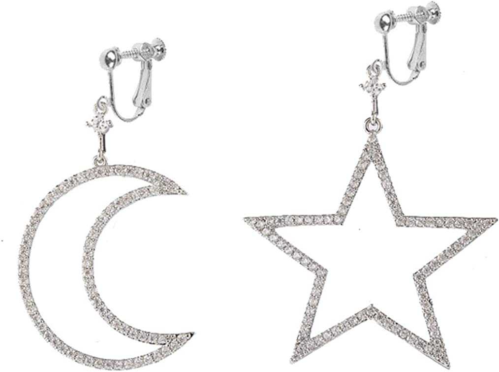 Gold Plated Clip on Earrings Moon and Star Dangle Crescent Cubic Zirconia Drop for Girls Women