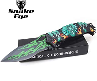 Snake Eye Tactical Fantasy Flaming Dragon Design Folding Knife | Outdoor Survival Pocket Knife | Small one-Hand Knife Made of Stainless Steel Blade| Ideal for Recreational Work Hiking Camping (Green)
