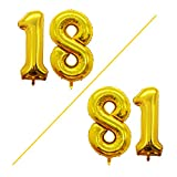 GOER 42 Inch Gold Number 18 Balloon,Jumbo Foil Helium Balloons for 18th Birthday Party Decorations and 18th Anniversary Event