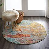 Nourison Celestial Modern Abstract Area Rug, 4' x ROUND (4' Round), Sealife Multicolor Grey
