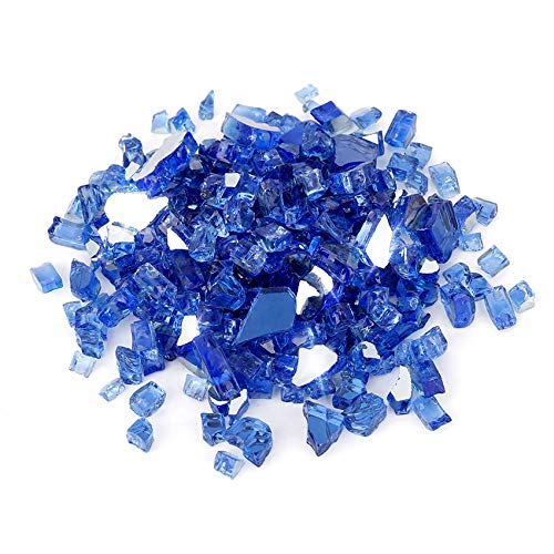 Skyflame High Luster 10-Pound Fire Glass for Fire Pit Fireplace Landscaping, 1/2-Inch Cobalt Blue Reflective