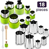 Gimars 18 Pcs Large + Mini Fruit & Vegetable & Cookie Cutters Shapes Sets, Stainless Steel Small Cookie Stamp Mold, Sandwich Cutters for Kids Baking, Bento Box and Food Decoration Tools for Kitchen
