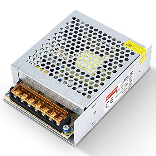 Kingwei 12V 10A Fuente de Alimentacion Transformador Interruptor,Transformador de Potencia,Transformador de Voltaje para Tira de LED,AC 100V / 240V a DC 12V 10A 120W.