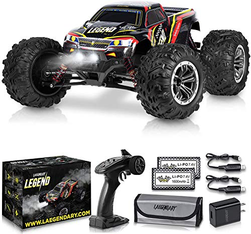 1:10 Scale Large RC Cars 48+ kmh Speed - Boys Remote Control Car 4x4 Off Road Monster Truck Electric - Hobby Grade Waterproof Toys Trucks for Kids and Adults - 2 Batteries + Connector for 40+ Min Play