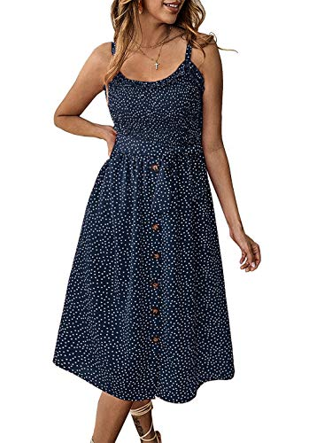 PRETTYGARDEN Women's Summer Sunflower Boho Spaghetti Strap Semi-Backless Button Down Swing A-Line Midi Dress with Belt and Pockets (014-Navy, Small)