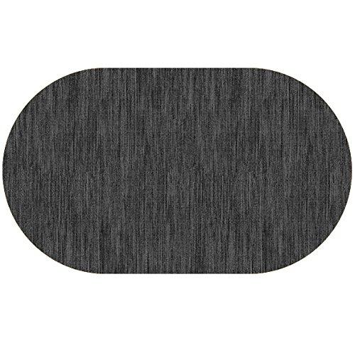 DecoHomeTextil Wachstuch Robuste Leinen Prägung Rund Oval Größe & Farbe wählbar Oval 130 x 180 cm Grau Anthrazit abwaschbare Tischdecke