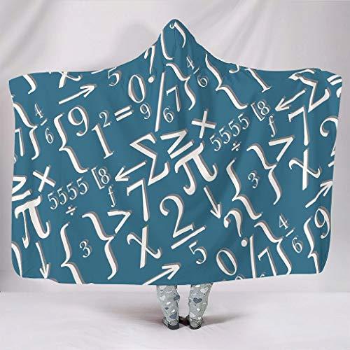 O1FHW-8 Original Hooded Blanket Lustige Mathe Weiß Muster Drucken Couchdecken Fleece Büro Tragbare Decke Robe - Weiße Kreide Passt Frauen/Männer Verwenden white9 130x150cm