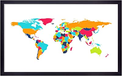999Store Fiber paintings for wall wall paintings for living room world map wall decor world map painting Multi Color World Map wall painting ( Canvas 35X22 Black) BLFLP24360027
