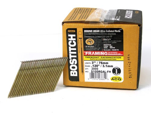 BOSTITCH Framing Nails, 28 Degree, Wire Weld, Galvanized, 3-Inch x .120-Inch, 2000-Pack (S10DRGAL-FH)