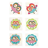 Fun Express - Owl Party Tattoos for Party - Apparel Accessories - Temporary Tattoos - Regular Tattoos - Party - 72 Pieces
