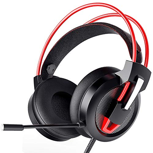 Greatever Gaming Headset, Headset PC PS4 Xbox Headset mit Noise Cancelling Mikrofon, Bass Surround Sound, Kopfhörer für PC MAC Laptop IPad IPod Smartphone (Rot)