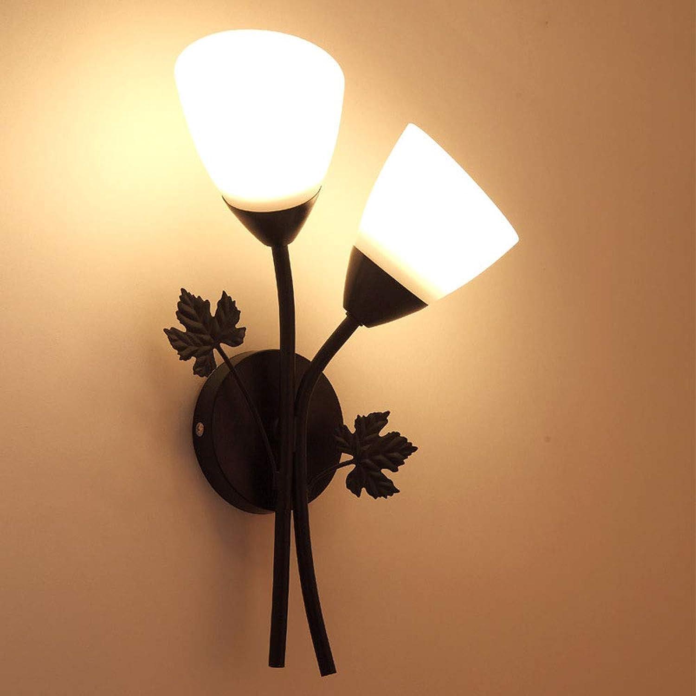 HKANG Blaume LED Wandleuchte Gold Schwarz Retro Wohnzimmer Schlafzimmer Bettseite Lampen 220V,twoschwarz