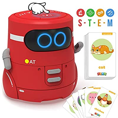GILOBABY Robot for Kids with 20 PCS Animals Cards for Playing Guess Game, Educational Interactive Learning Toys with Singing, Dancing, Repeating, Voice Recording for Boys Girls