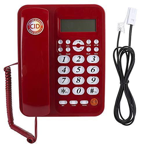 Plyisty Línea Fija Teléfono de Oficina/Negocio/residencial con Cable con Sistema Dual FSK/DTMF, Pantalla LCD de 16 dígitos, Alfombrilla Antideslizante, Volumen del Auricular Ajustable
