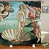 None brand Elegant Die Geburt der Venus Duschvorhang Badvorhang Sandro Botticelli Gemälde Wasserdichter Vorhang für Bad Art Decor Geschenk-B150xH180cm