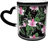 Tazza in ceramica Modello senza cuciture disegnato a mano con ramo di orchidea stilizzato Tazza che cambia colore sensibile al calore nel cielo Tazze da caffè Tazza in ceramica