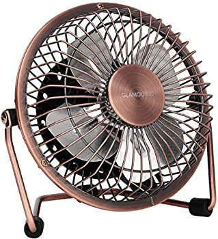 GLAMOURIC Small USB Desk Fan Mini Metal Personal Fan Retro Design Electric Portable Air Circulator Angle Adjustable Quiet Operation for Table Desktop Home Office Travel  Copper