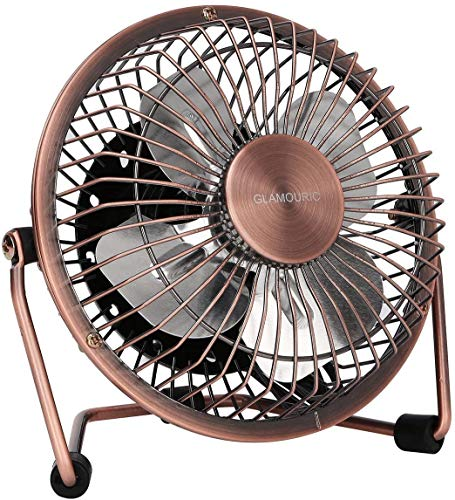 %35 OFF! GLAMOURIC Small USB Desk Fan Mini Metal Personal Fan Retro Design Electric Portable Air Circulator Angle Adjustable Quiet Operation for Table Desktop Home Office Travel (Copper)