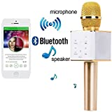 cartup Karaoke Mic Wireless, Portable Handheld Singing Machine Condenser Microphones Mic And Bluetooth Speaker Compatible with iPhone/iPad/ iPod/and all android smartphones