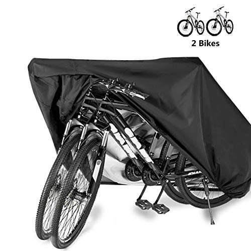 Bumlon Bicycle Cover Waterproof Outdoor 2 Bikes, Motorcycle Covers XL XXL, Outdoor Bicycle Storage Tarp Windproof, Dustproof, Anti-UV - Suits Mountain Bike, Road Bike, Tricycles Motorcycles