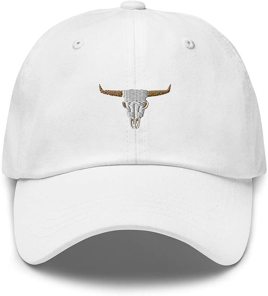 Texas Longhorn Skull Themed Embroidered Baseball Dad Hat, Texas Longhorn Hat, Texas Hat, Longhorn Hat