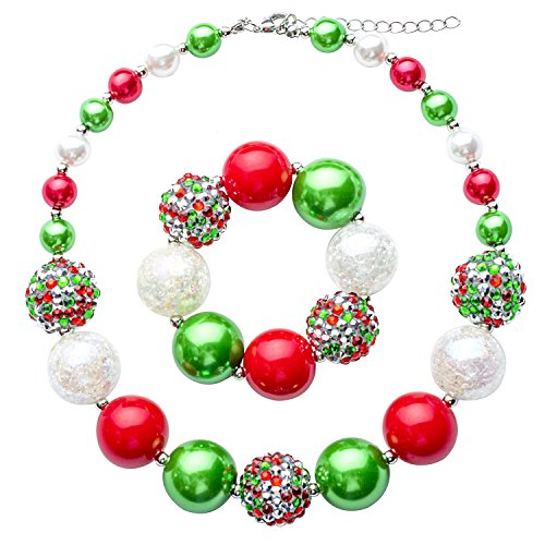Chunky Bubblegum Necklace Merry Christmas Fashion Beads Necklace for Baby Girl with Gift Box (Red)