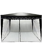 INSTENT Muggennet voor 3x3 paviljoen, 12 m, 2x ritssluiting, bevestiging met klittenband, vliegennet, insectengaas, vliegenhor, tent, Kleur: zwart