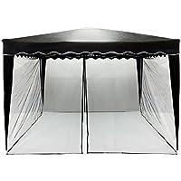 INSTENT® Mosquitera para cenador de 3x3 12 m. Selección de Color: Negro o Blanco, Cremallera 2X, con Tiras de Velcro para la sujeción, mosquitera, mosquitera, mosquitera con mosquitera