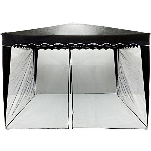 INSTENT Mosquitera para cenador de 3x3 12 m. Selección de Color: Negro o Blanco, Cremallera 2X, con Tiras de Velcro para la sujeción, mosquitera, mosquitera, mosquitera con mosquitera