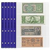 PELLER'S 10 Hojas de colección, Cada Página, para Billetes y cheques. Fundas para Álbum, Extra Transparente, Modelo XL: 4 Departamentos 219mm X 75mm