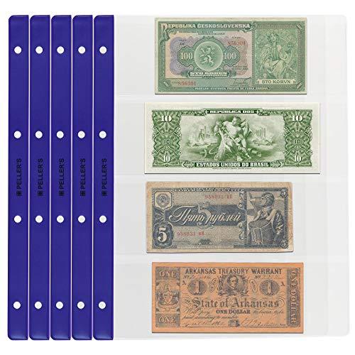 PELLER'S Banknotenhüllen - Briefehüllen für Sammelalbum XL. 10er Pack. (Modell XL: 4 Taschen 219 x 75 mm)
