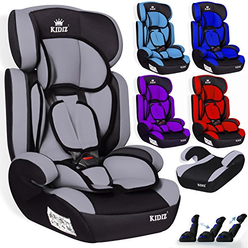 KIDIZ® Autokindersitz Kinderautositz ✓ Gruppe 1+2+3 ✓ 9-36 kg ✓ Autositz ✓ Kindersitz | Stabil und Sicher | Grau