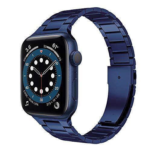 CHENPENG Correa Compatible con Apple Watch 6/5/4/3/2/1, Correas de Reloj de Acero Inoxidable, Correas de Reloj de Metal de Repuesto, Pulsera de Repuesto,D,44MM
