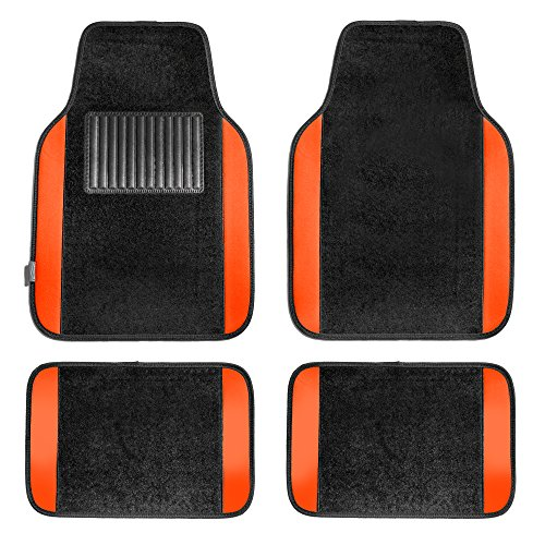 FH Group F14407ORANGE Premium Full Set Carpet Floor Mat (Sedan and SUV with Driver Heel Pad Orange)